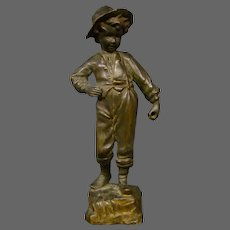 Antique French bronze sculpture of young boy fisherman