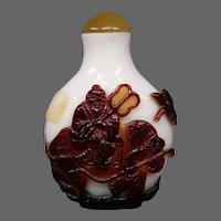 Peking cameo glass snuff bottle elders on ox signed