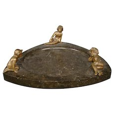 Antique Austrian bronze marble three nudes tray large