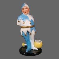 Halga Limoges court jester figural porcelain inkwell signed