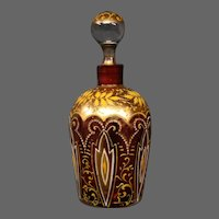 Antique Moser art glass enameled gilded cranberry perfume bottle
