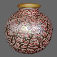 Durand pink Lady Gay Rose moorish crackle art glass ball vase