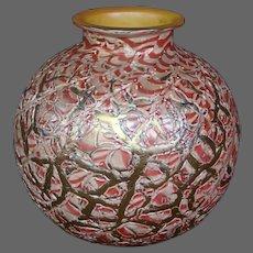 Durand pink Lady Gay Rose moorish crackle art glass ball vase
