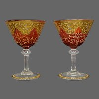 Moser antique enameled gilded cranberry art glass pair matching goblets
