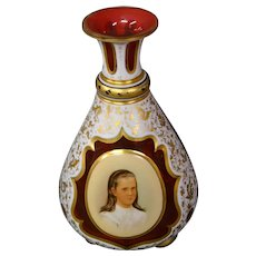 Antique Bohemian overlay white to ruby portrait perfume bottle