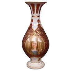 Antique Bohemian ruby white overlay portrait vase
