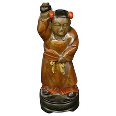 Oriental figural man carved wood polychrome decoration table lamp