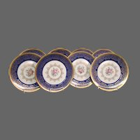 Edgerton Bohemia Czechoslovakia set blue gold multicolored flowers floral dinner plates chargers