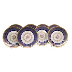 Edgerton Bohemia Czechoslovakia set blue gold multicolored flowers floral dinner plates chargers