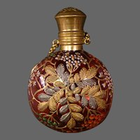 Antique Moser art glass enameled gilded platinum cranberry lay down perfume scent bottle