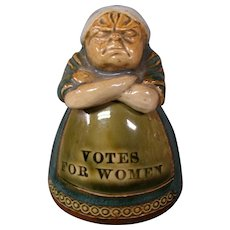 Doulton Lambeth whimsical figural Virago inkwell stern woman  Votes for Women Leslie Harradine