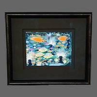 John Francis Stenvall abstract underwater sea marine life fish oil painting signed