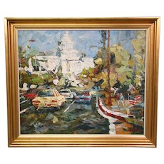 Impressionist painting of US Capitol building artist signed