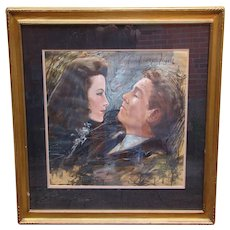 Ralph Wolfe Cowan original mixed media painting of Spencer Tracy and Katharine Hepburn signed