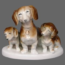 German porcelain Thuringia trio of dachshunds dogs figurine eagle mark
