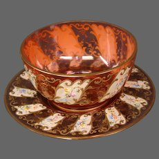 Moser art glass cranberry enameled gilded fingerbowl and underplate