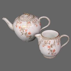 KPM porcelain matching teapot creamer cream pitcher peach flowers blue sceptre mark