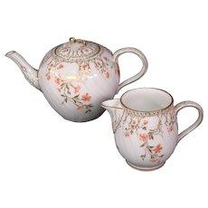 KPM porcelain matching teapot creamer cream pitcher peach flowers blue sceptre mark