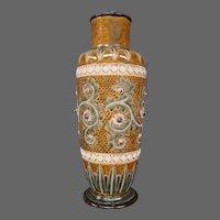 Doulton Lambeth large art pottery vase George Tinworth rosettes basketweave artist signed 1871