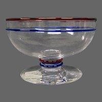 Steuben art glass three color bowl marked Frederick Carder era