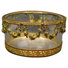 Antique French bronze and crystal Empire oval master salt dip