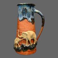 Sumida Gawa Japanese art pottery tankard elephants Ban-Ni signed
