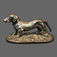 Dachshund dog silverplate figural paperweight
