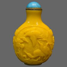Peking cameo glass snuff bottle yellow jade color birds storks bats handles