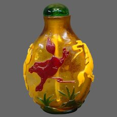 Peking cameo glass snuff bottle multicolored rearing horses amber
