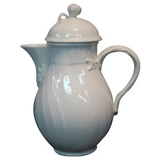 KPM porcelain white chine de blanc miniature coffee pot blue sceptre mark