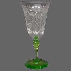Steuben Pomona green crystal Crescent engraved pattern tall water goblet form 6820