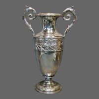 WMF German silverplate tall handled vase leaves and berries