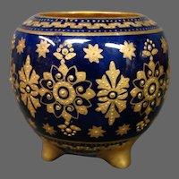 Coalport porcelain cobalt blue gilded beaded three foot miniature vase A6938