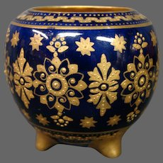 Coalport porcelain cobalt blue gilded beaded three foot miniature vase A6938