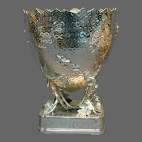 Victorian silverplate large cracked egg lizard insects vase centerpiece marked