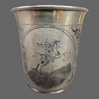 Russian engraved 84 silver beaker Peter the Great St Petersburg dated 1842