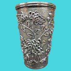 Antique Chinese Wang Hing silver beaker chrysanthemums