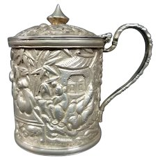 Antique Chinese export silver Wang Hing covered mustard jar figures