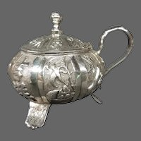 Chinese export silver 90 Wang Hing small mustard marmalade pot