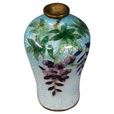 Japanese cloisonne ginbari wisteria miniature vase signed