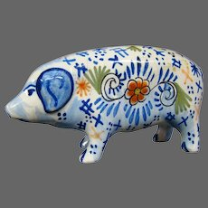 Delft pottery pig figurine figure signed