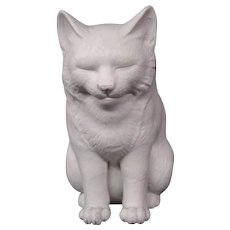 Japanese Hirado bisque white porcelain smiling seated cat figurine Meiji period