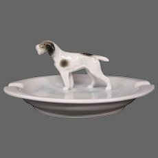 Metzler & Ortloff porcelain dog figurine ashtray