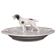 Metzler & Ortloff porcelain dog figurine ashtray