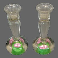 Art glass floral paperweight pair faceted candlesticks
