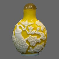 Peking cameo glass jade yellow alabaster flowers vases snuff bottle marked