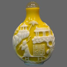 Peking cameo glass yellow white snuff bottle figures buildings bridges