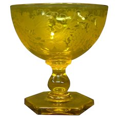 Steuben bristol yellow engraved grapes cut foot stem goblet form 6242 signed
