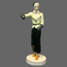 Katzhutte Hertwig & Co art deco porcelain woman skier figurine