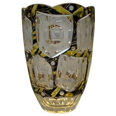 Bohemian art deco overlay vase Karl Palda